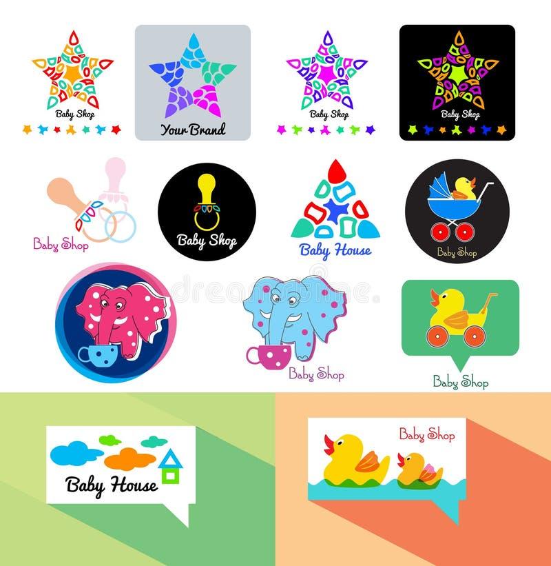 Logotipo de la tienda del bebé Juega el icono del logotipo Plantilla del logotipo de la tienda del bebé libre illustration