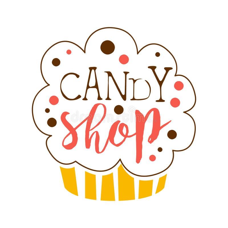 Logotipo de la tienda del caramelo Emblema dulce de la panadería Etiqueta dibujada mano colorida libre illustration
