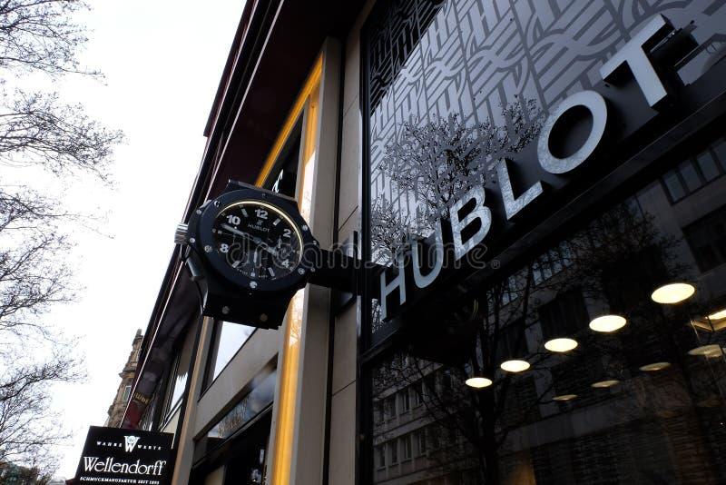 Logotipo de la tienda de Hublot en Francfort fotografía de archivo