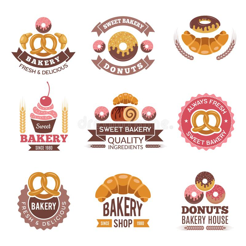 Logotipo de la tienda de la panadería Magdalenas de la comida fresca de las galletas de los anillos de espuma y imágenes del pan  libre illustration