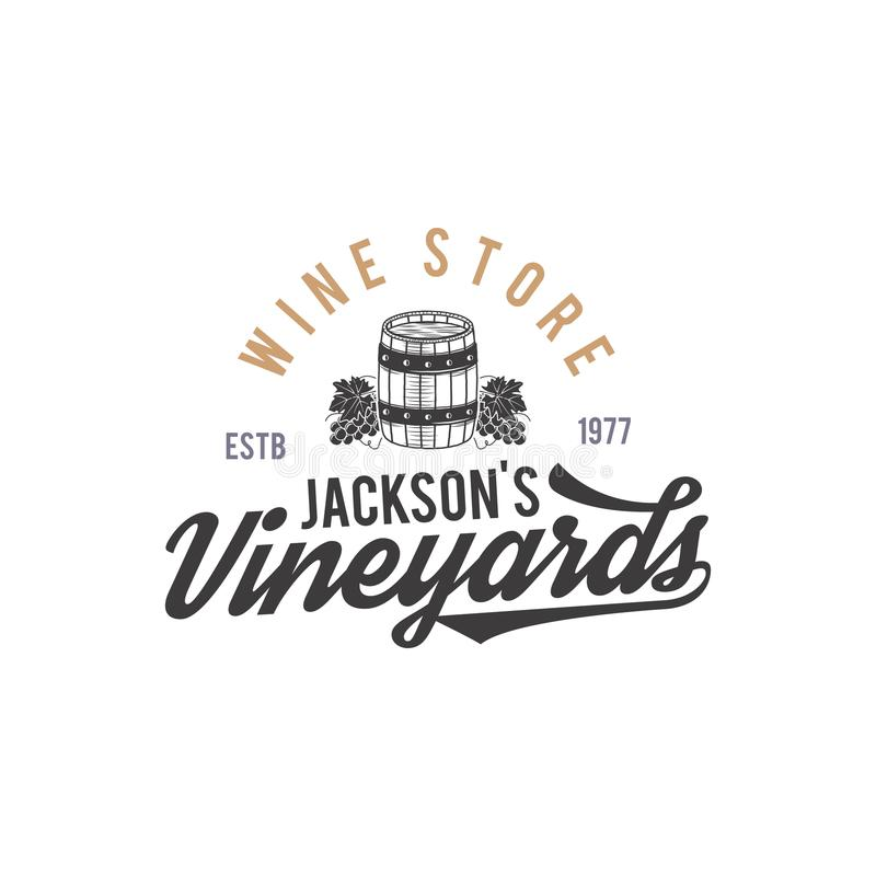 Logotipo de la tienda de vino, etiqueta Vinos orgánicos Insignia del viñedo Símbolo retro de la bebida - barril de vino, vides mo libre illustration