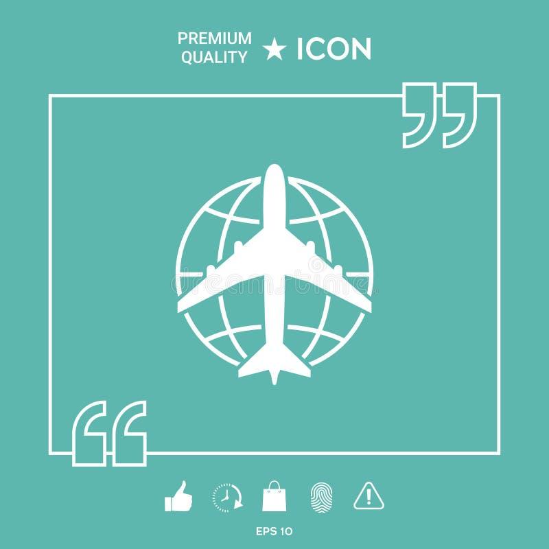 Logotipo de la tierra y del aeroplano stock de ilustración
