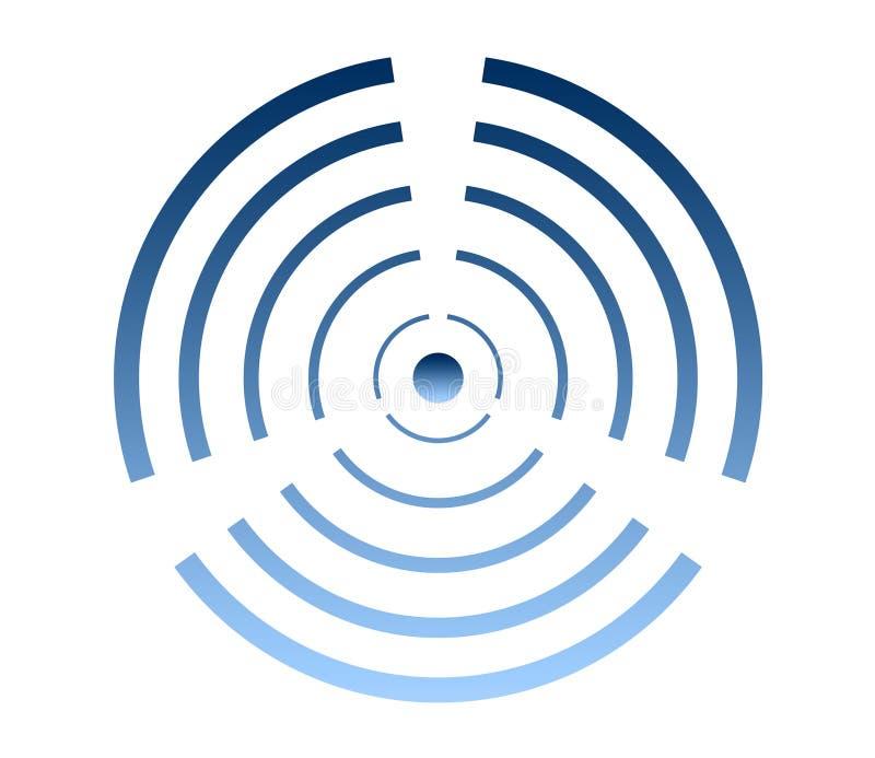 Logotipo de la turbina de viento, símbolo de la energía eólica, icono del aire acondicionado ilustración del vector