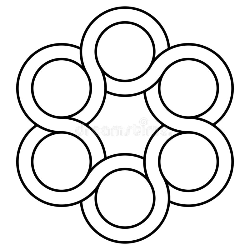 Logotipo de la válvula del icono, círculos de entrelazamiento, golpecito del símbolo del vector, tatuaje de la torsión del concep libre illustration