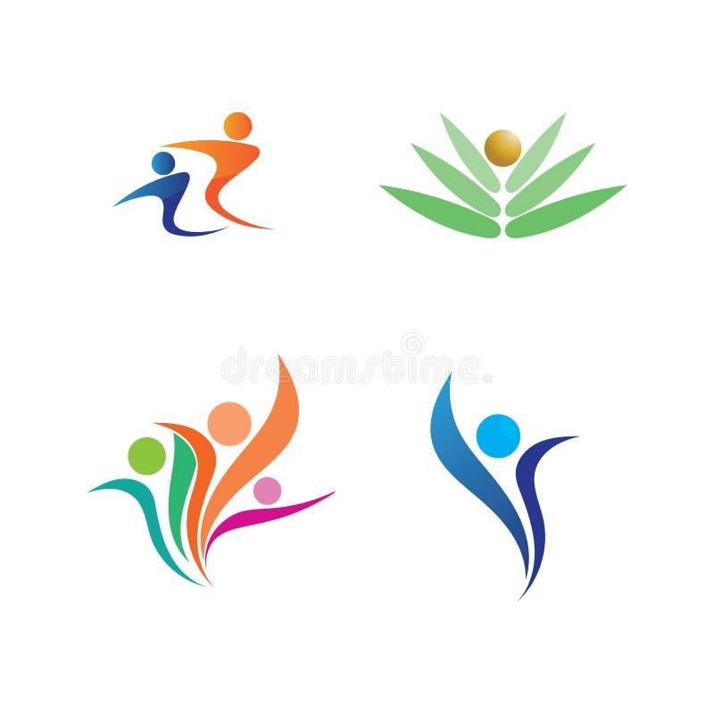 Logotipo de la vida de la salud del ?xito del cuidado de la gente ilustración del vector