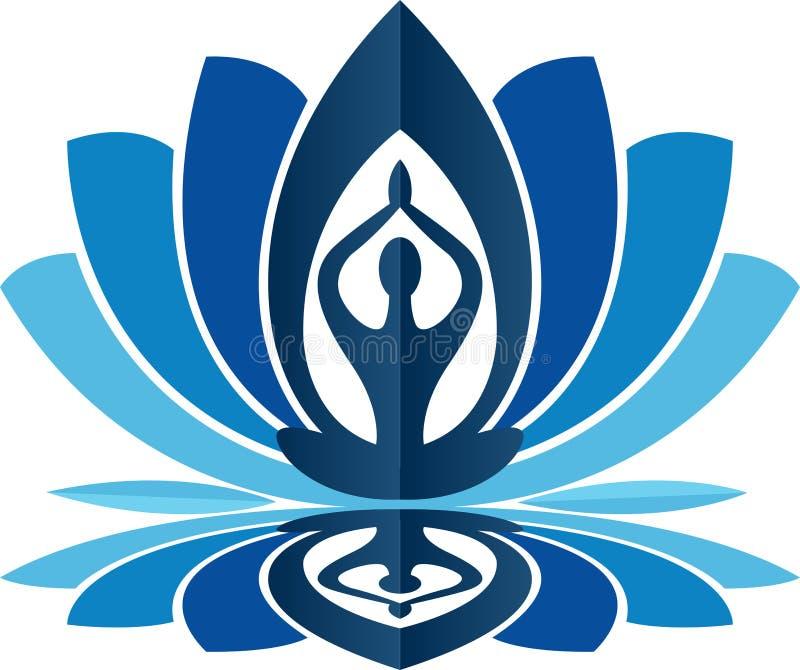 Logotipo de la yoga de Lotus stock de ilustración