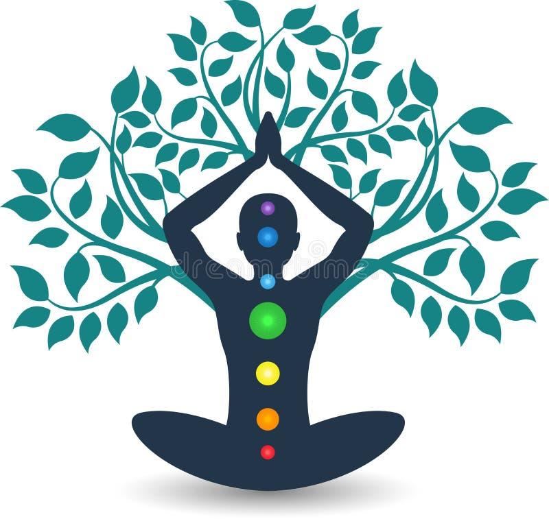 Logotipo de la yoga del árbol stock de ilustración