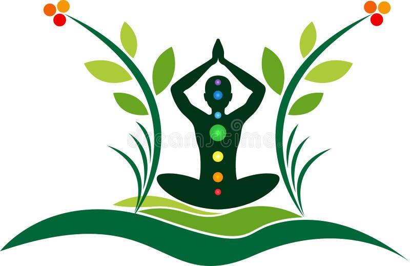 Logotipo de la yoga de la ecología ilustración del vector