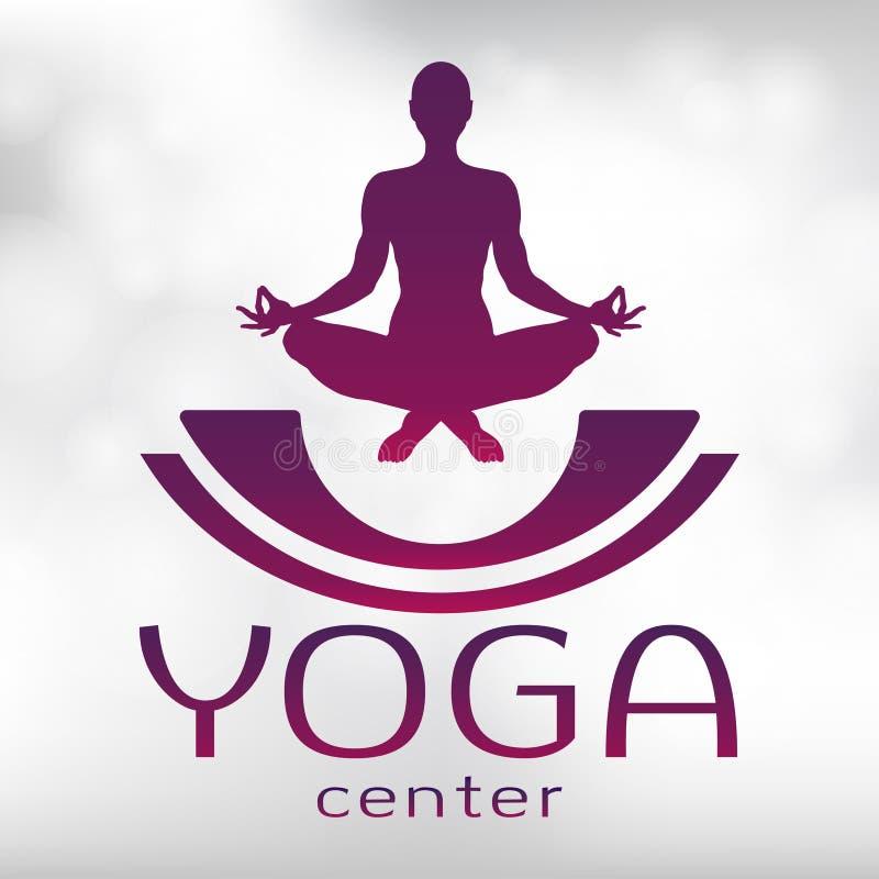 Logotipo de la yoga, icono del vector, emblema para el centro de la yoga Figura de un hombre que se sienta en una actitud del lot stock de ilustración