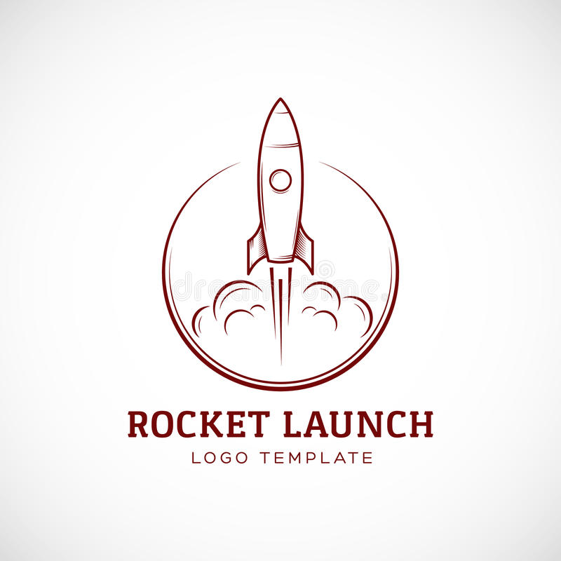 Logotipo de lanzamiento de Rocket Space Ship Abstract Vector ilustración del vector