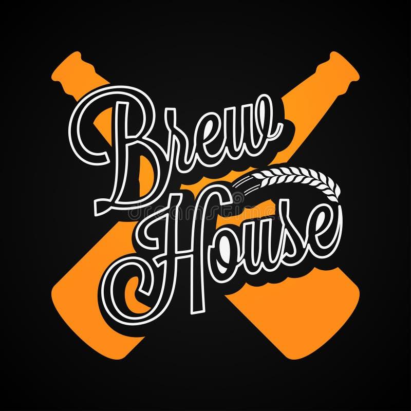 Logotipo de las botellas de cerveza Fondo de la etiqueta de la casa del brebaje libre illustration