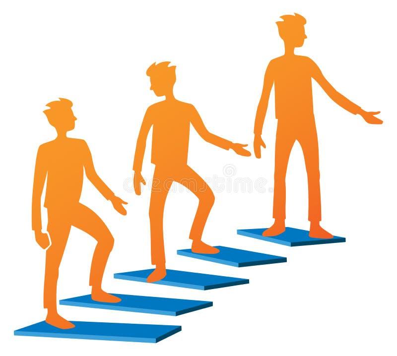 Logotipo de las escaleras que sube stock de ilustración