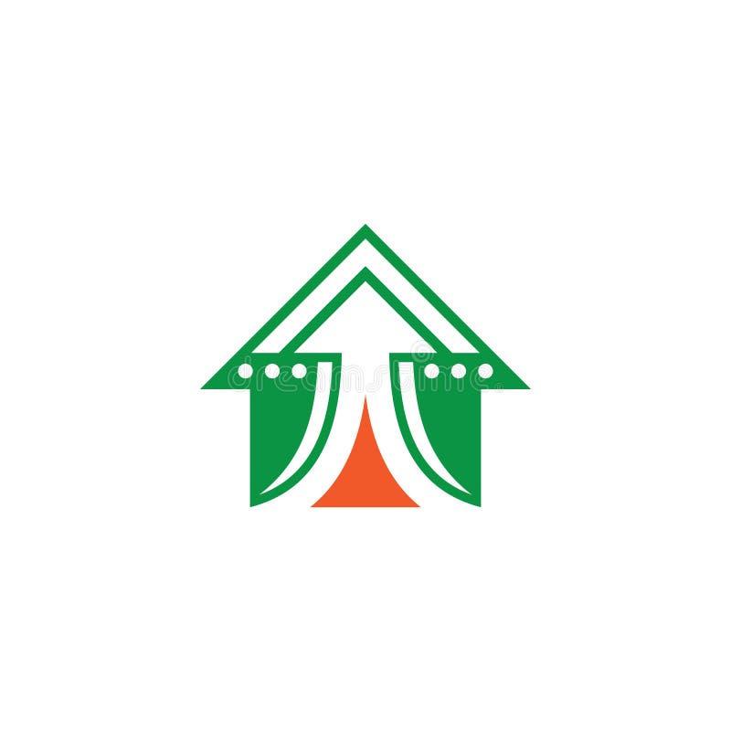 Logotipo de las finanzas del negocio de la flecha de la casa stock de ilustración