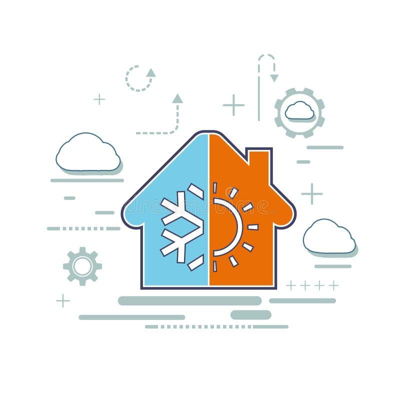 Logotipo de las instalaciones de la ventilación y del aire acondicionado ilustración del vector