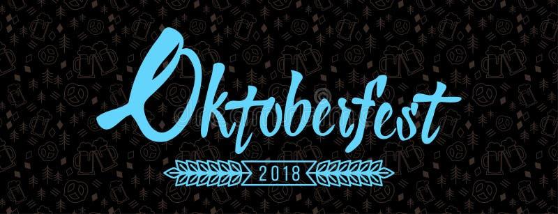 Logotipo de las letras de Oktoberfest en fondo negro stock de ilustración