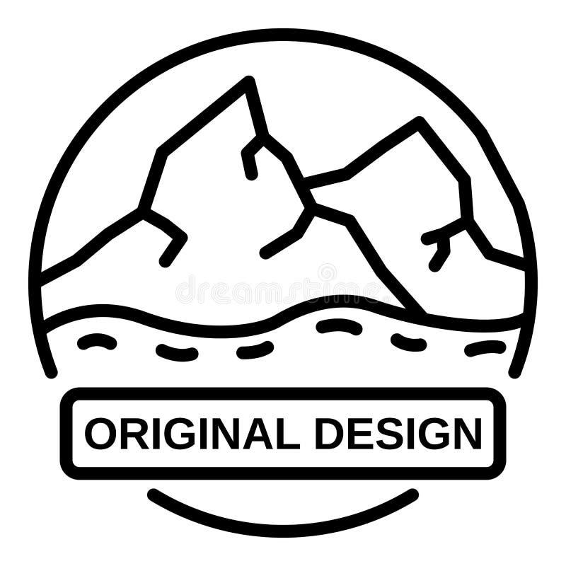 Logotipo de las montañas, estilo del esquema stock de ilustración