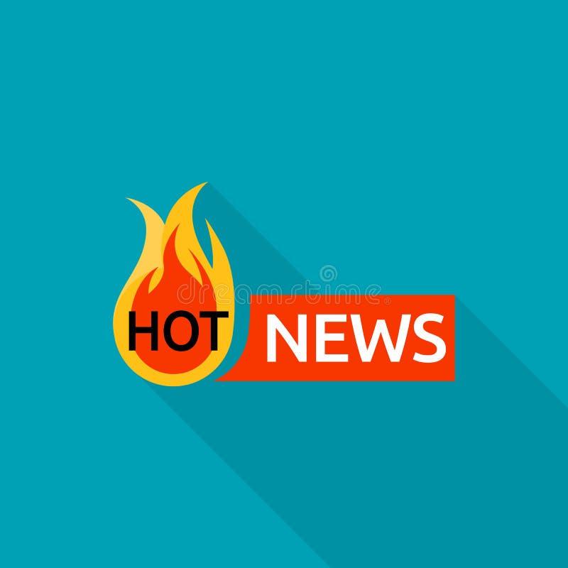 Logotipo de las noticias calientes, estilo plano stock de ilustración