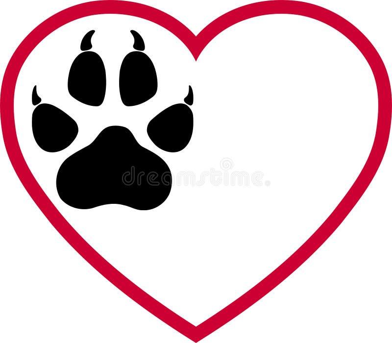 Logotipo de las patas del corazón y del perro, de las patas del lobo, de los perros y de los lobos ilustración del vector