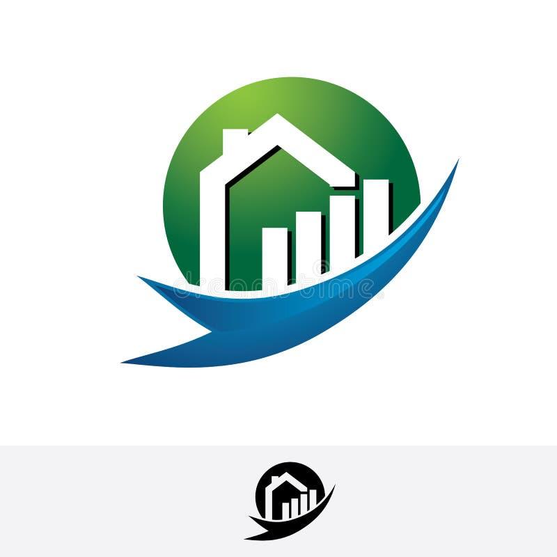 Logotipo de las propiedades inmobiliarias del tejado del hogar de la carta stock de ilustración