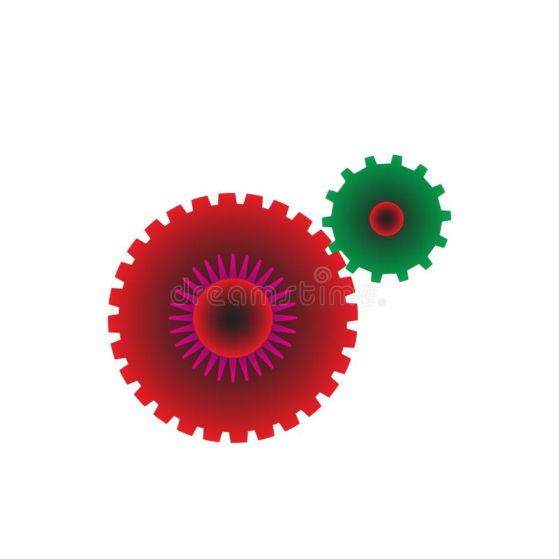 Logotipo de las ruedas de engranaje ilustración del vector