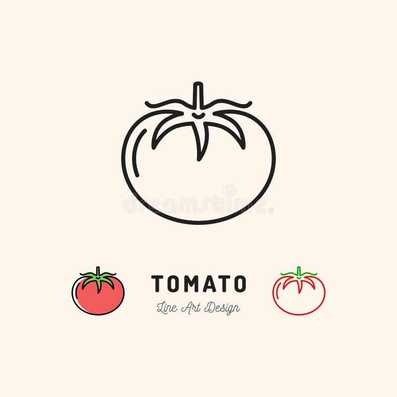 Logotipo de las verduras del icono del tomate del vector Línea fina diseño del arte ilustración del vector