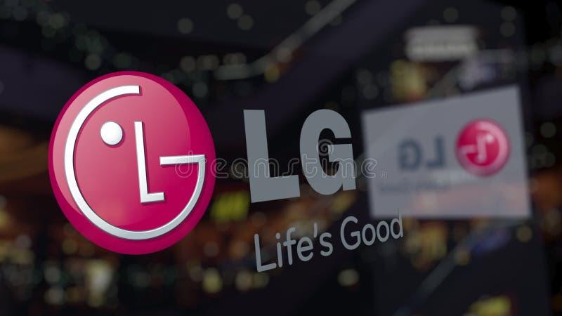 Logotipo de LG Corporaçõ no vidro contra o centro de negócios borrado Rendição 3D editorial ilustração royalty free