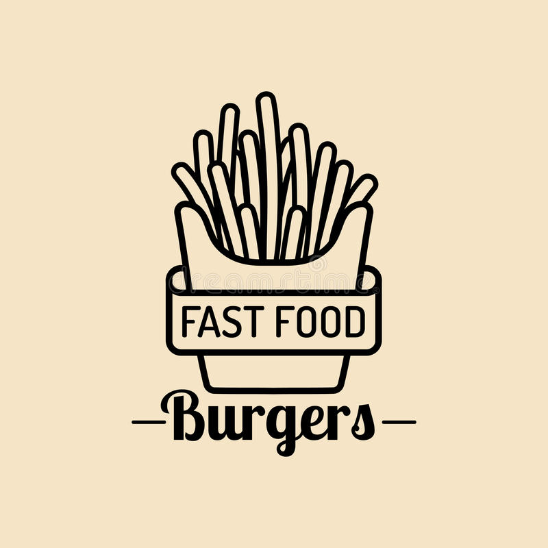 Logotipo de los alimentos de preparación rápida del vintage del vector Muestra retra de las patatas de la fritada Icono de los bi libre illustration