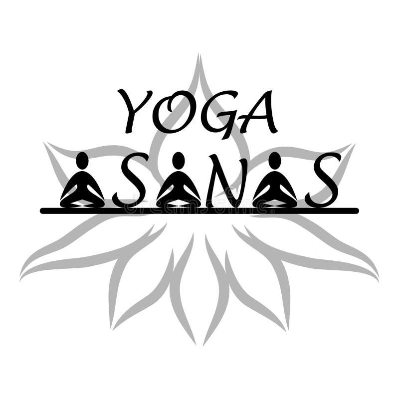 Logotipo de los asanas de la yoga stock de ilustración