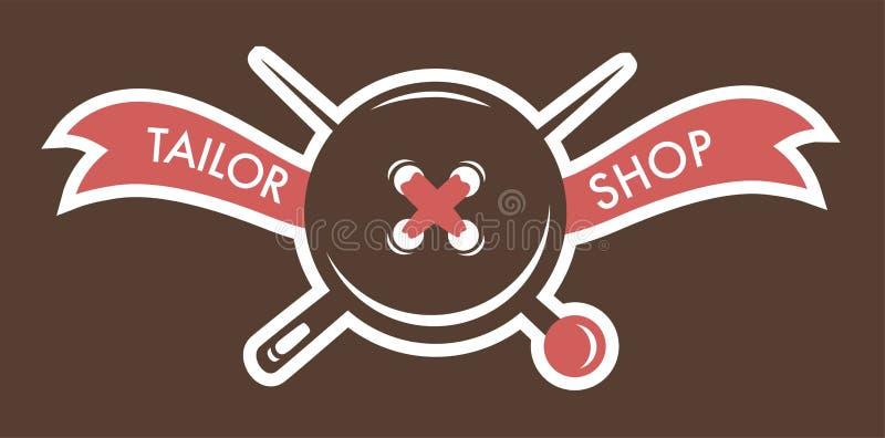 Logotipo de los botones del nd de las agujas de la tienda del sastre de la tienda stock de ilustración
