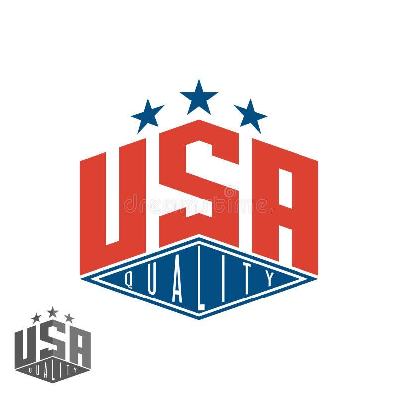 Logotipo de los E.E.U.U. de la calidad, bandera coloreada de la maqueta gráfica de la camiseta de la impresión de América que pon stock de ilustración
