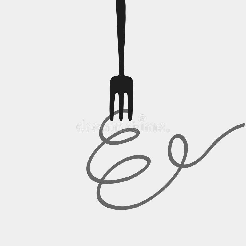 Logotipo de los espaguetis y de la bifurcación imágenes de archivo libres de regalías