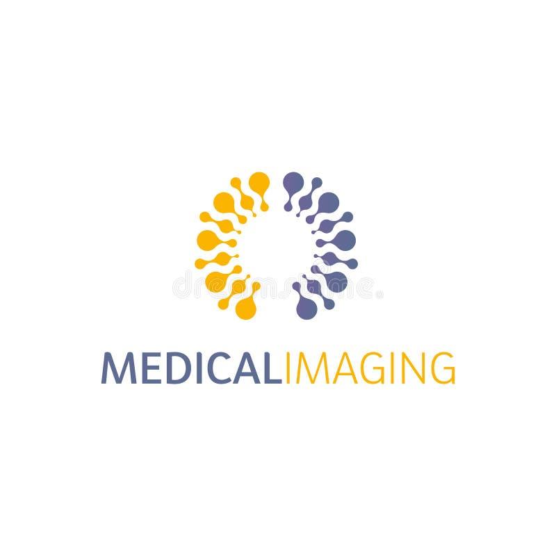 Logotipo de los hemisferios del cerebro, formas redondas, plantilla inusual del logotipo del vector abstracto Ciencia médica u ot ilustración del vector