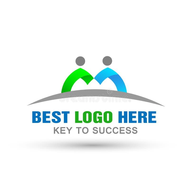 Logotipo de los pares de la unión de la gente, trabajo del equipo sobre el diseño de Corporate Logo para el icono del logotipo de libre illustration