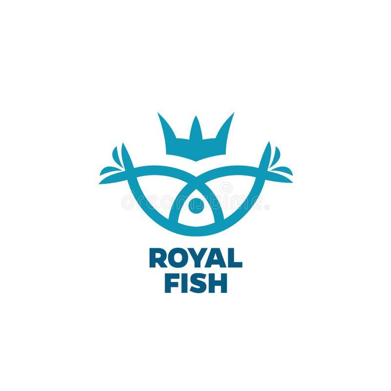 Logotipo de los pescados con la corona libre illustration
