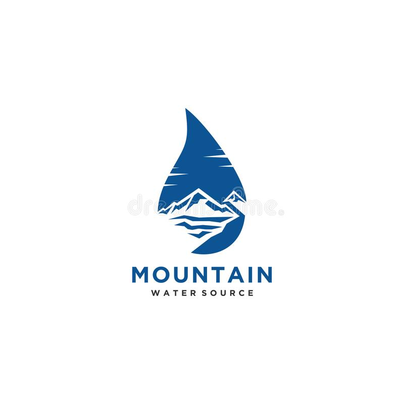 Logotipo de los recursos hídricos de la montaña o vector del diseño del símbolo ilustración del vector