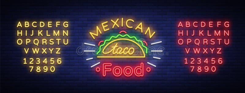 Logotipo de los tacos en el estilo de neón Señal de neón, cartelera brillante, publicidad nocturna del taco mexicano de la comida libre illustration