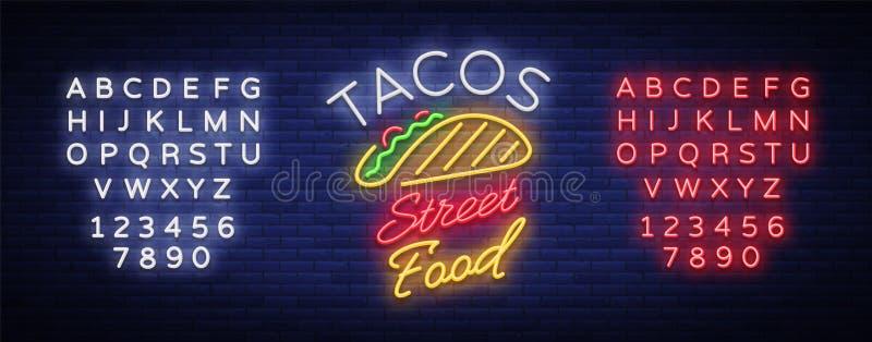 Logotipo de los tacos en el estilo de neón Señal de neón, cartelera brillante, publicidad nocturna del taco mexicano de la comida stock de ilustración