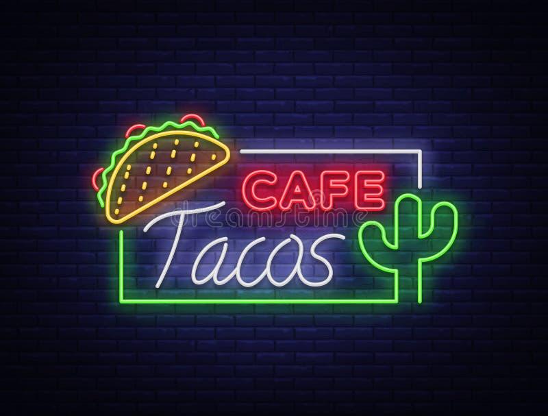 Logotipo de los tacos en el estilo de neón Señal de neón, símbolo, cartelera brillante, publicidad nocturna del taco mexicano de  ilustración del vector