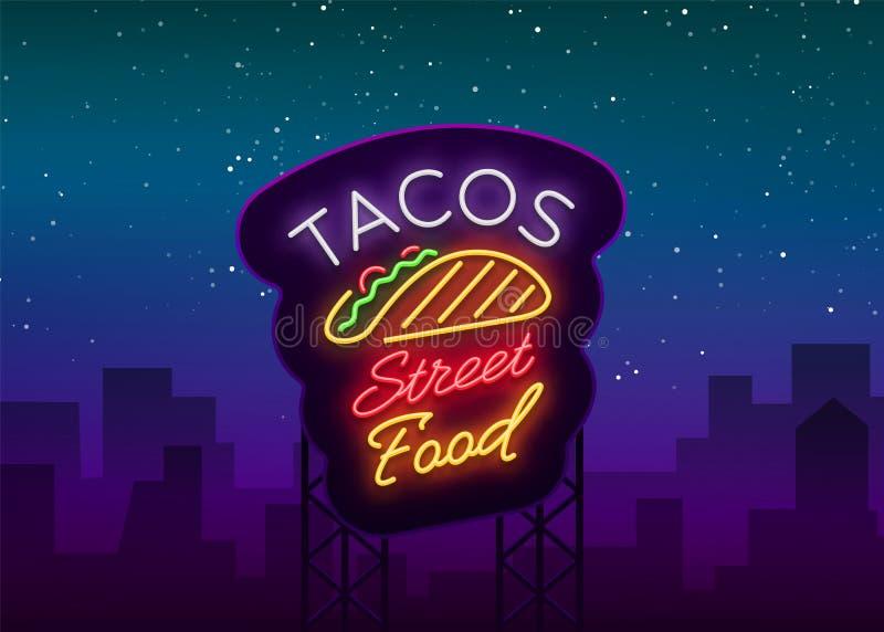 Logotipo de los tacos en el estilo de neón Señal de neón, símbolo, cartelera brillante, publicidad nocturna del taco mexicano de  stock de ilustración