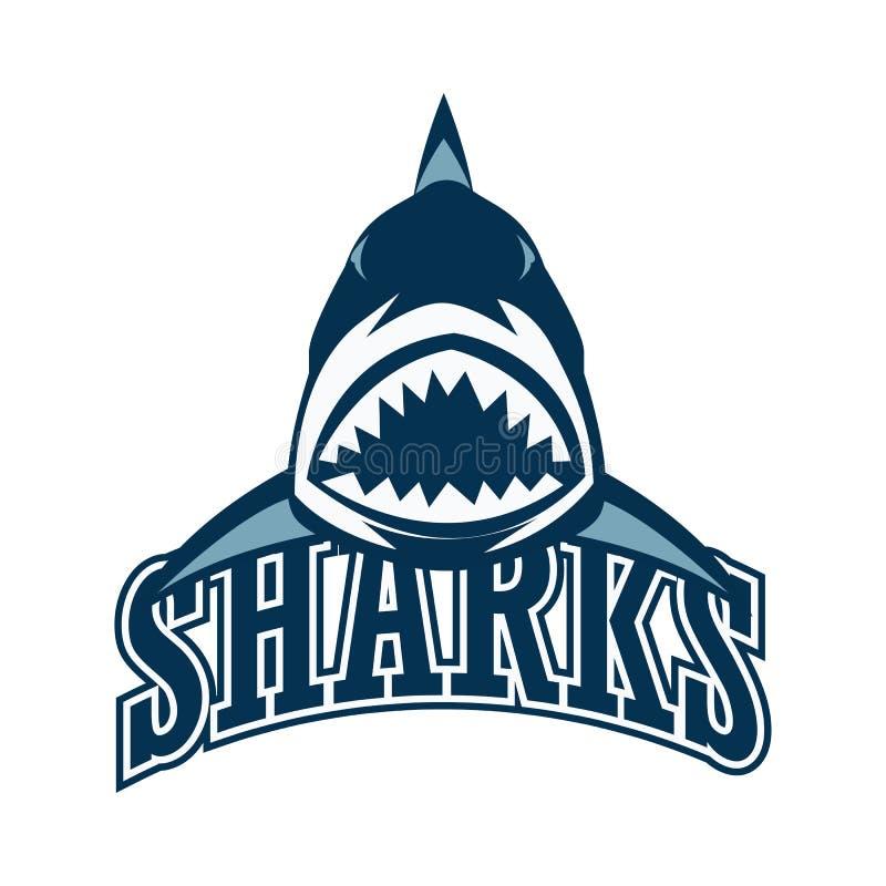 Logotipo de los tiburones azules con el espacio del texto para su lema/eslogan stock de ilustración