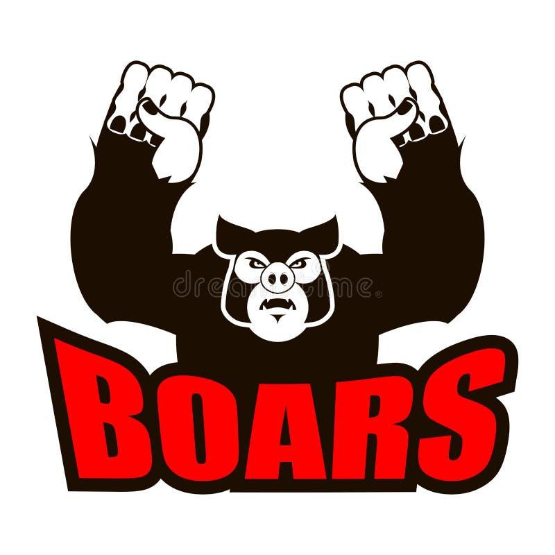 Logotipo de los verracos para el equipo de deportes Cerdo enojado Jabalí agresivo gru libre illustration