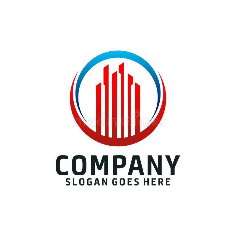 Logotipo de lujo y hermoso del edificio de la torre stock de ilustración