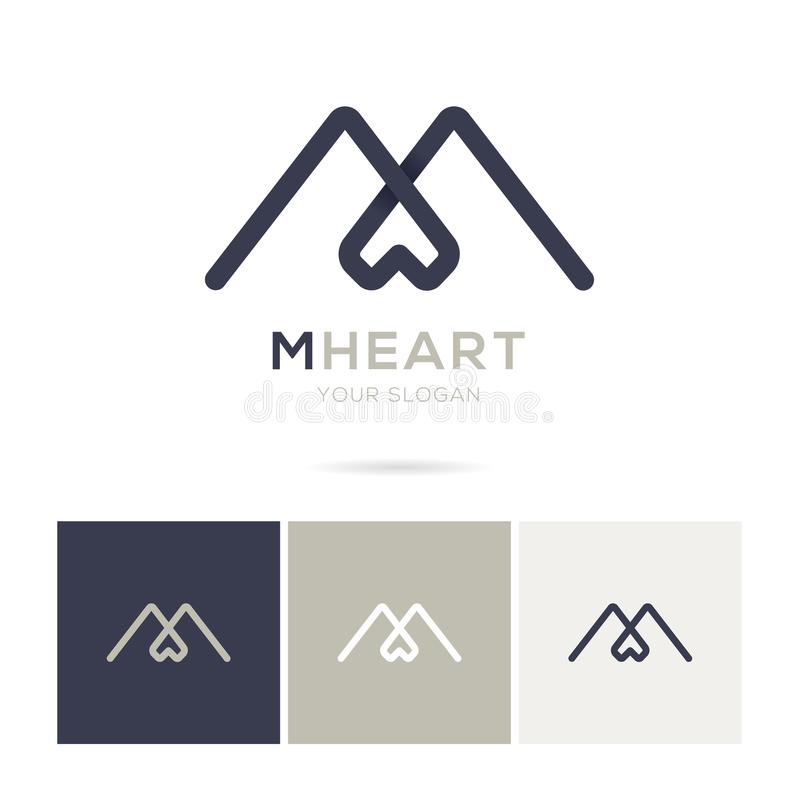 Logotipo de M Heart no projeto moderno fotos de stock royalty free