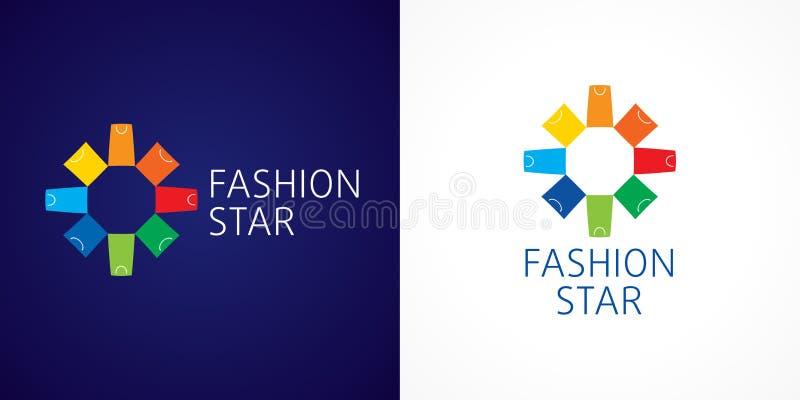 Logotipo de marcagem com ferro quente do vetor da estrela da forma ilustração stock
