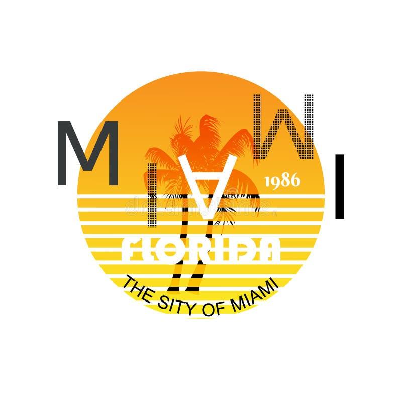Logotipo de Miami do vetor para imprimir em camisas Palmeiras no por do sol ilustração stock
