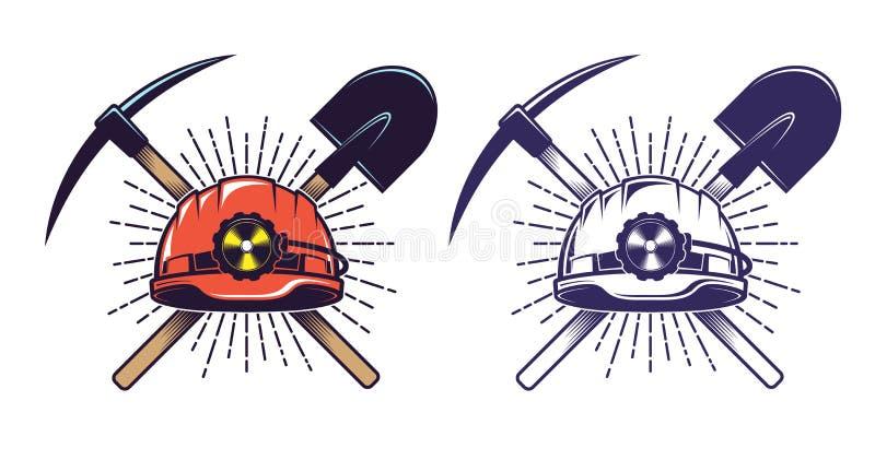 Logotipo de mineração com picareta e pá do capacete no estilo retro do vintage ilustração do vetor
