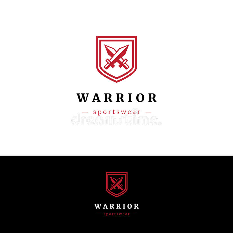 Logotipo de Minimalistic com dois espadas e protetores ilustração royalty free