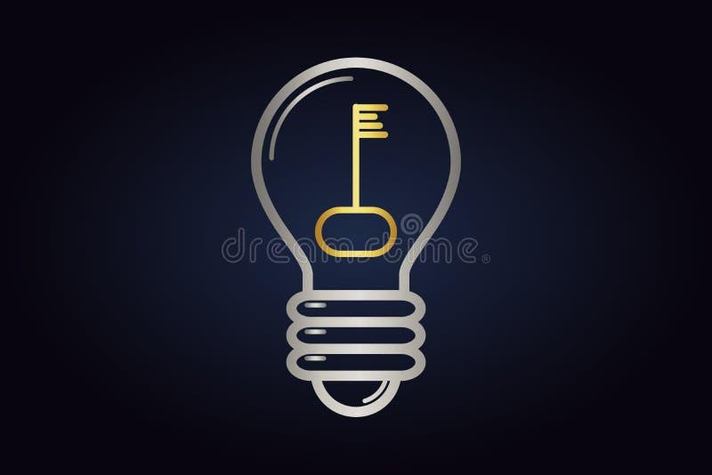 Logotipo de Minimalistic do bulbo el?trico com interior chave dourado ilustração royalty free