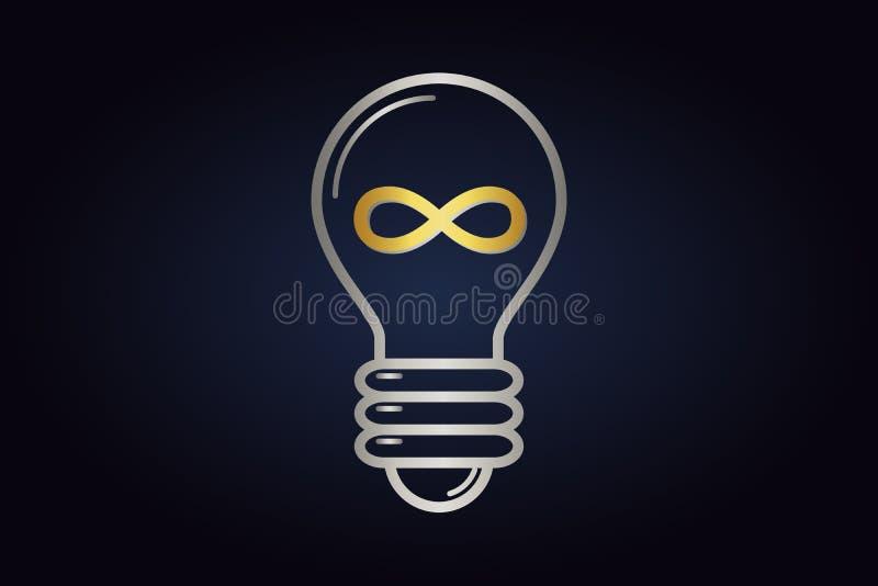 Logotipo de Minimalistic do bulbo el?trico com sinal dourado da infinidade para dentro ilustração royalty free