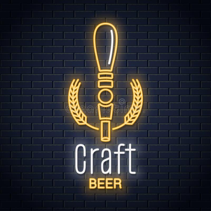 Logotipo de néon da torneira da cerveja Sinal de néon da cerveja do ofício no fundo preto ilustração royalty free
